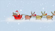 Santa Claus with reindeers riding during a blizzard