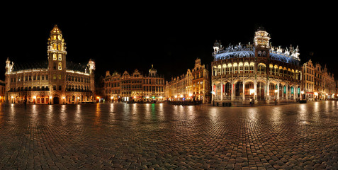 Night panorama of Grande Place,Grote Markt Brussels, Belgium