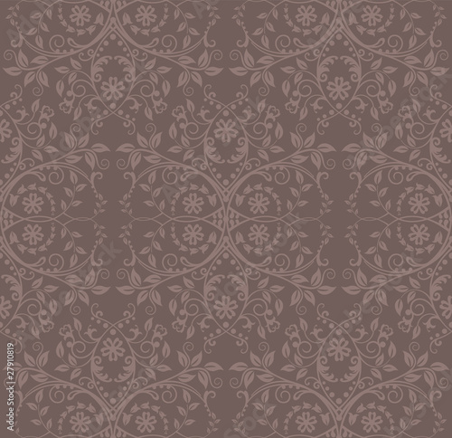 Seamless cocoa floral wallpaper
