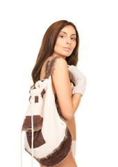 beautiful woman in mittens with backpack