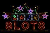 slots gambling neon sign poster