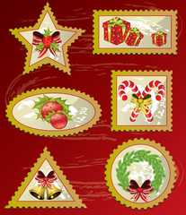 Christmas post stamp set