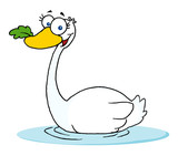 Swimming Swan With A Leaf In Its Beak poster
