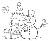 Fototapety Outlined Friendly Snowman With A Cute Birds And Christmas Tree