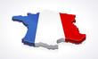 Carte de la France 3D drapeau sur fond (reflet)