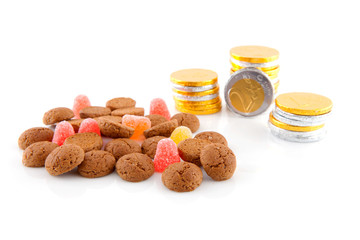 Typical dutch sweets for Sinterklaas over white background