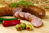 Polish kielbasa with olives and chilli