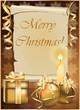 Golden Christmas background with candle. vector illustration