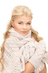 beautiful woman in mittens