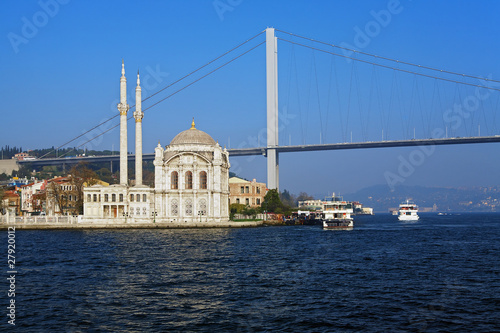 Ortakoy mosque and the Bosphorus bridge, Istanbul, Turkey