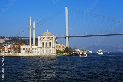Ortakoy mosque and the Bosphorus bridge, Istanbul, Turkey