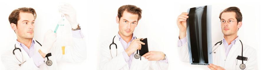 Arzt mit Röntgenbild Collage