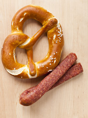 pretzel and sausage