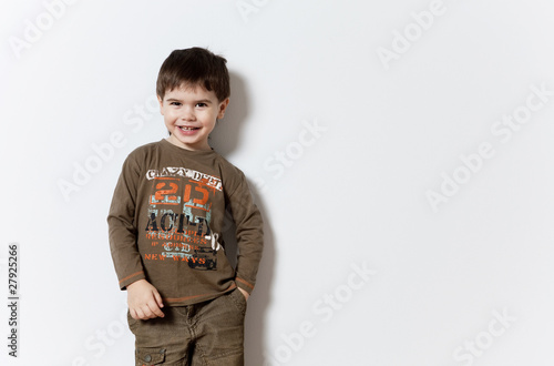 Smiling three year old boy