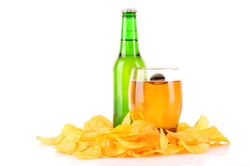 Potato chips and beer isolated on white