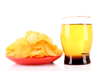 Potato chips in red plate with cup of beer isolated on white