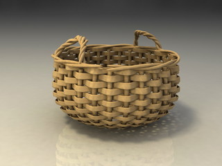 wicker basket  isolated