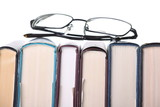 Row of books and Reading Glasses