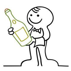 figur mit geschlossenem champagner