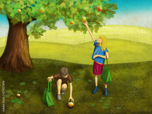 Dzieci pod jabłonią