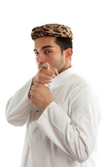 Ethnic man pointing finger at you