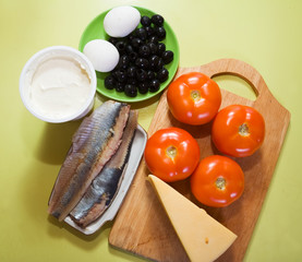 ingredients for stuffed tomato salad. Cooking  in series