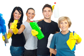 Cheerful cleaning service workers team