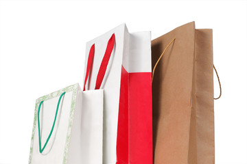 gift. paper bag over white background
