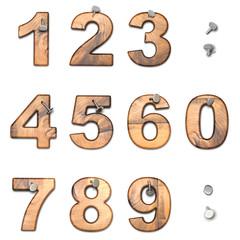 numéros 1,2,3,4,5,6,7,8,9,0 en bois sur fond blanc