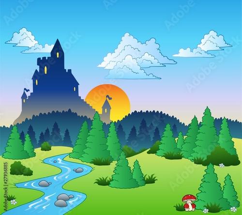 Spoed canvasdoek 2cm dik Kasteel Fairy tale landscape 1