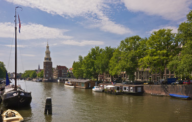 Amsterdam, Netherlands, Montelbaan Tower and houseboats
