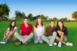 friends group people happy sitting green grass