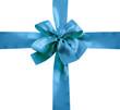noeud et ruban bleu emballage paquet cadeau