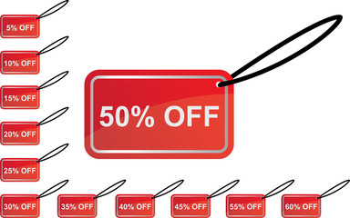 red discount sign set