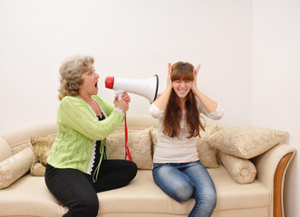 mother shouting at doughter