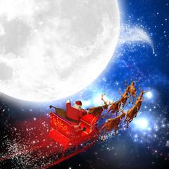 Weihnachtsmann mit Rentierschlitten im Weltall