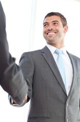 Happy businessmen shaking hands standing in the office