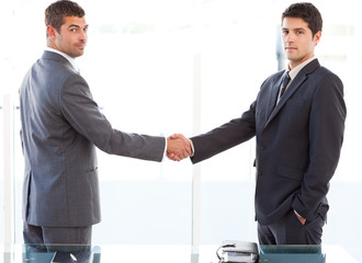 Two charismatic businessmen shaking hands standing in the office