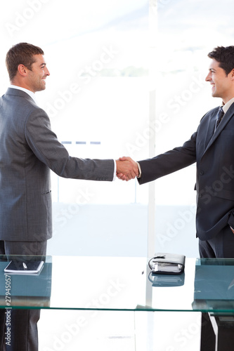 Cheerful businessmen closing a deal by shaking their hands