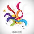 Invaders. Fantasy colorful vector illustration.