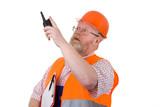 Bauleiter mit Walkie Talkie poster
