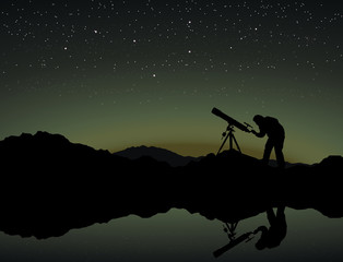 Looking at the stars through a telescope
