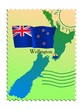 Wellington - capital of New Zealand. Vector stamp
