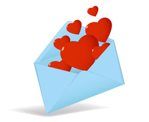 Cartoon vector opened envelope with red valentine heart
