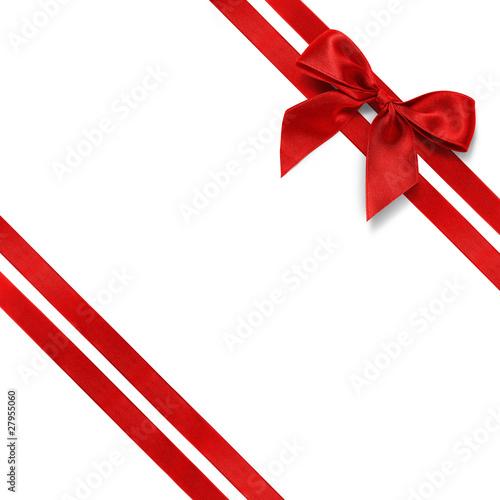 Noeud rouge et ruban diagonal