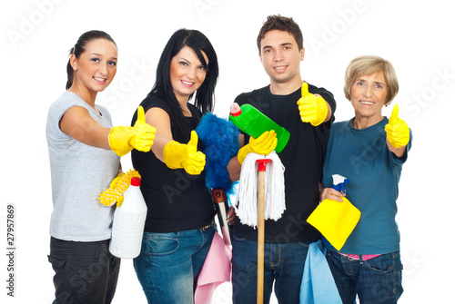 Successful cleaning people teamwork