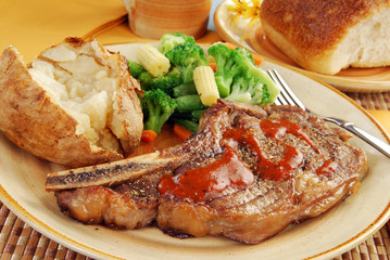 Juicy steak dinner