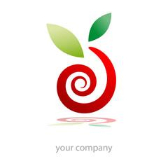 Logo snail, organic food  (vector)