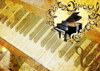 grand piano in frame from butterfly