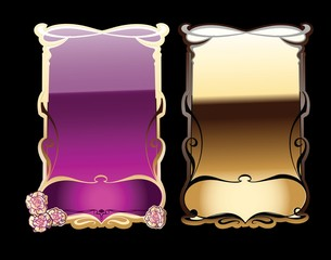 Purple, Black And Gold Ornate Banners. Vector Illustration.